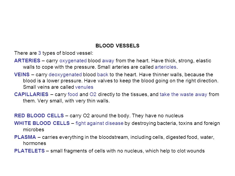 BLOOD VESSELS There are 3 types of blood vessel: ARTERIES – carry oxygenated blood away from the heart.