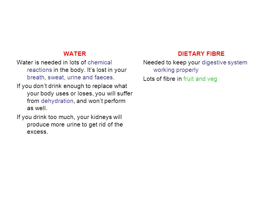 WATER Water is needed in lots of chemical reactions in the body.
