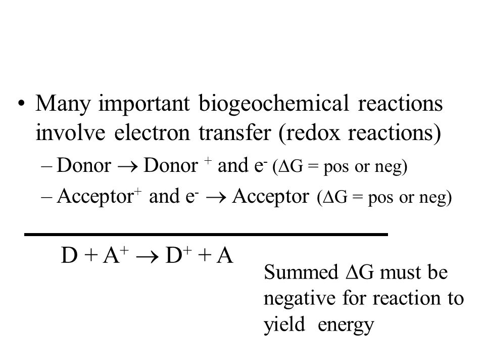 Overall ∆G is negative DONOR D→D+ and e - ACCEPTOR A←A+ and e - BIOTA Enzymes (electron transport) are the teeth on the gears