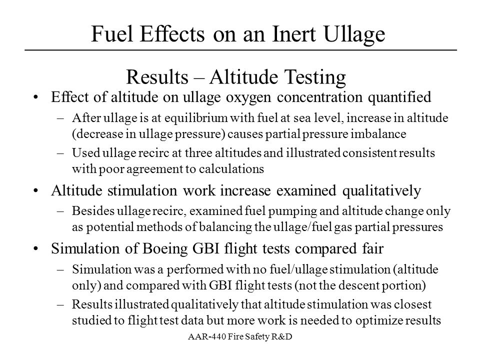 Fuel Effects on an Inert Ullage ____________________________________ AAR-440 Fire Safety R&D Results – Altitude Testing Effect of altitude on ullage o
