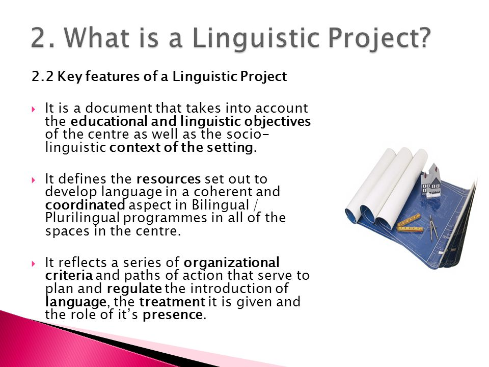 2.2 Key features of a Linguistic Project  It is a document that takes into account the educational and linguistic objectives of the centre as well as the socio- linguistic context of the setting.