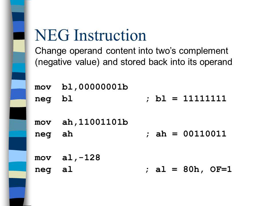 XOR Instruction Truth table shows XOR operation result 10 101 010 bit-1 bit-2 op-1:1 1 0 1 0 0 1 1 op-2:0 1 0 0 1 1 0 1 result:1 0 0 1 1 1 1 0