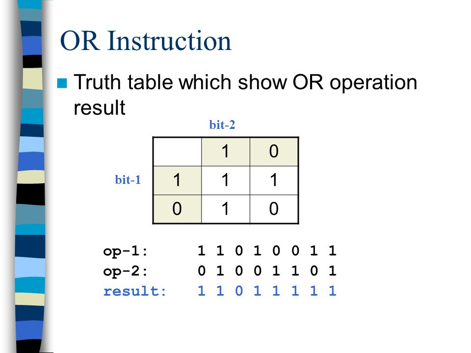OR Instruction Truth table which show OR operation result bit-1 bit-2 op-1: op-2: result: