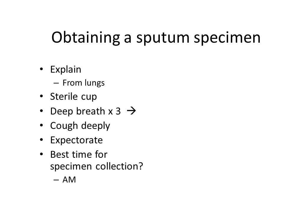 Obtaining a sputum specimen Explain – From lungs Sterile cup Deep breath x 3  Cough deeply Expectorate Best time for specimen collection.