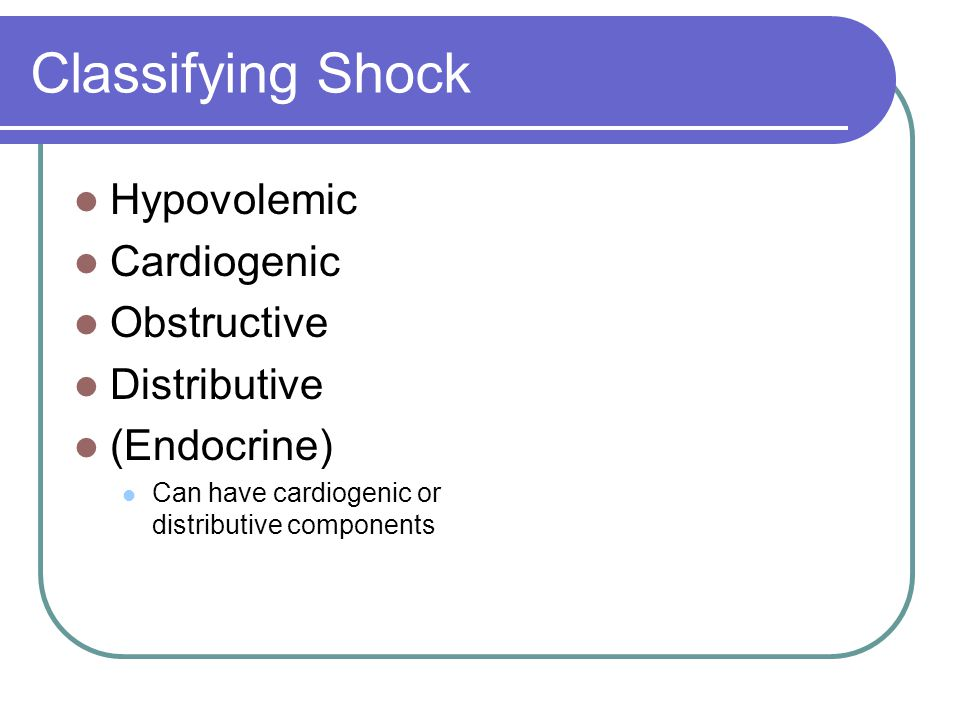 Classifying Shock Hypovolemic Cardiogenic Obstructive Distributive (Endocrine) Can have cardiogenic or distributive components