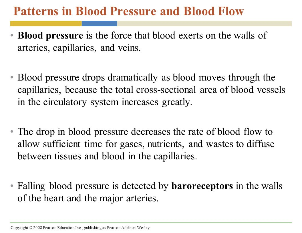 Copyright © 2008 Pearson Education Inc., publishing as Pearson Addison-Wesley Patterns in Blood Pressure and Blood Flow Blood pressure is the force that blood exerts on the walls of arteries, capillaries, and veins.
