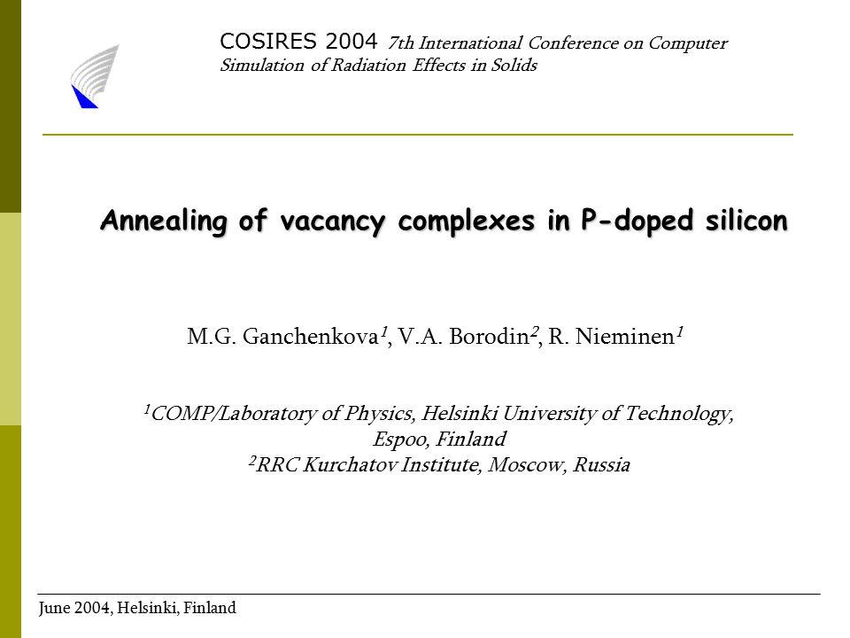 M.G. Ganchenkova 1, V.A. Borodin 2, R. Nieminen 1 1 COMP/Laboratory of Physics, Helsinki University of Technology, Espoo, Finland 2 RRC Kurchatov Inst