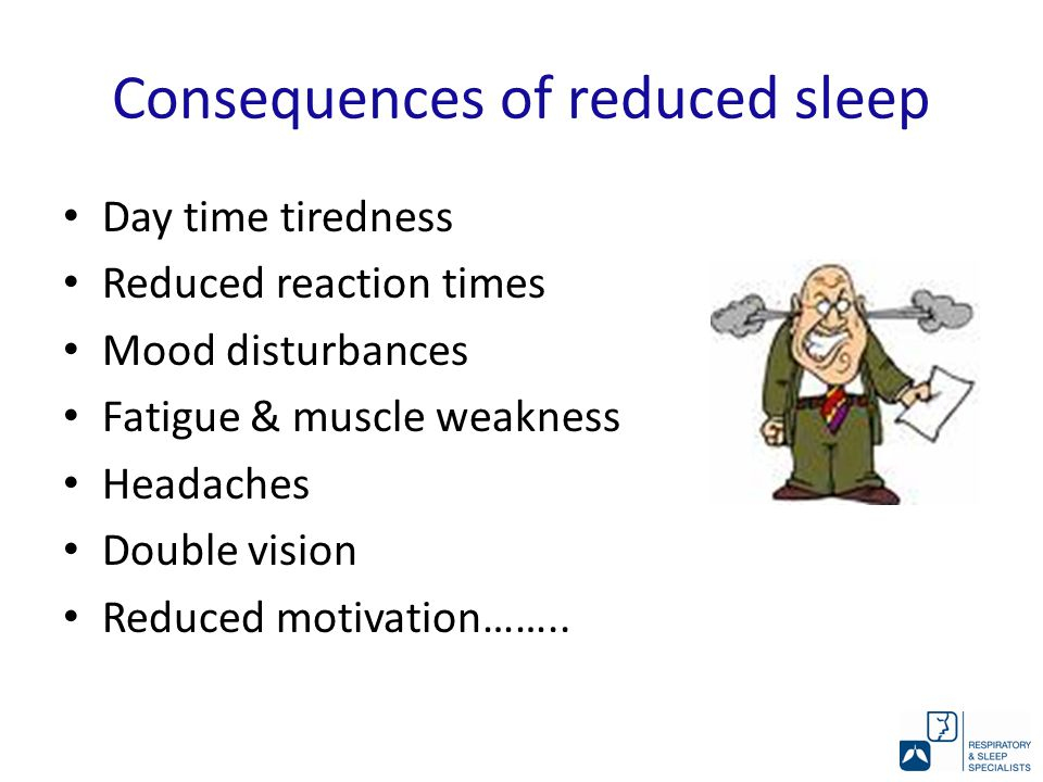 Consequences of reduced sleep Day time tiredness Reduced reaction times Mood disturbances Fatigue & muscle weakness Headaches Double vision Reduced motivation……..