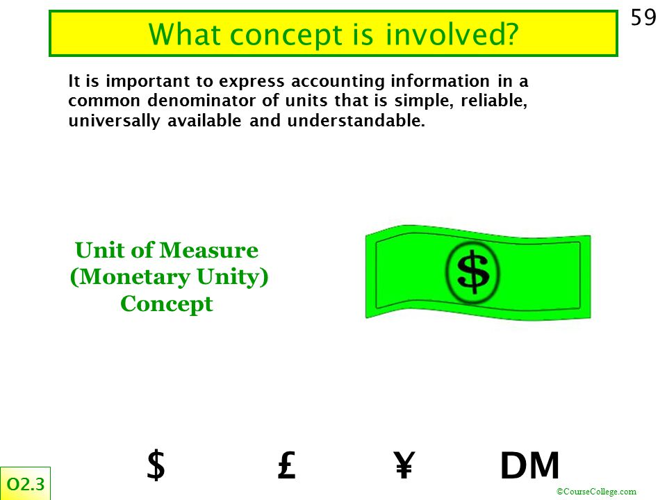 ©CourseCollege.com 59 What concept is involved? O2.3 It is important to express accounting information in a common denominator of units that is simple