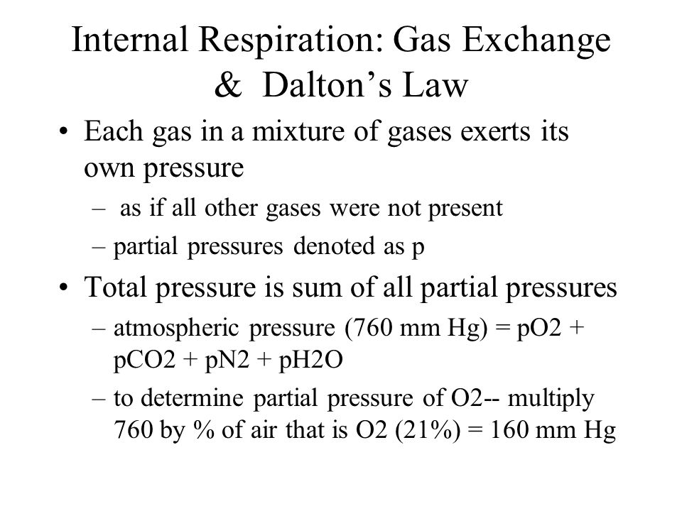 Internal Respiration: Gas Exchange & Dalton's Law Each gas in a mixture of gases exerts its own pressure – as if all other gases were not present –par