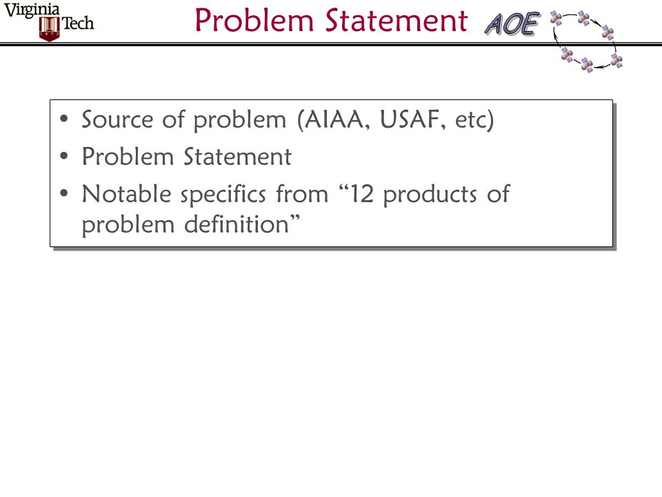 Problem Statement Source of problem (AIAA, USAF, etc) Problem Statement Notable specifics from 12 products of problem definition Source of problem (AIAA, USAF, etc) Problem Statement Notable specifics from 12 products of problem definition