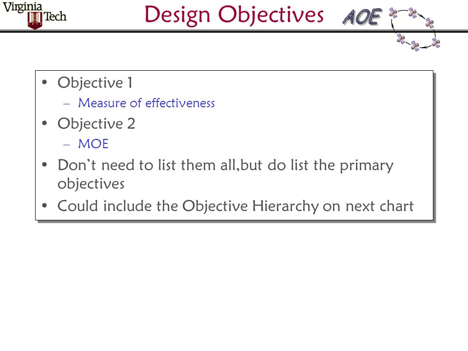 Design Objectives Objective 1 –Measure of effectiveness Objective 2 –MOE Don't need to list them all,but do list the primary objectives Could include the Objective Hierarchy on next chart Objective 1 –Measure of effectiveness Objective 2 –MOE Don't need to list them all,but do list the primary objectives Could include the Objective Hierarchy on next chart