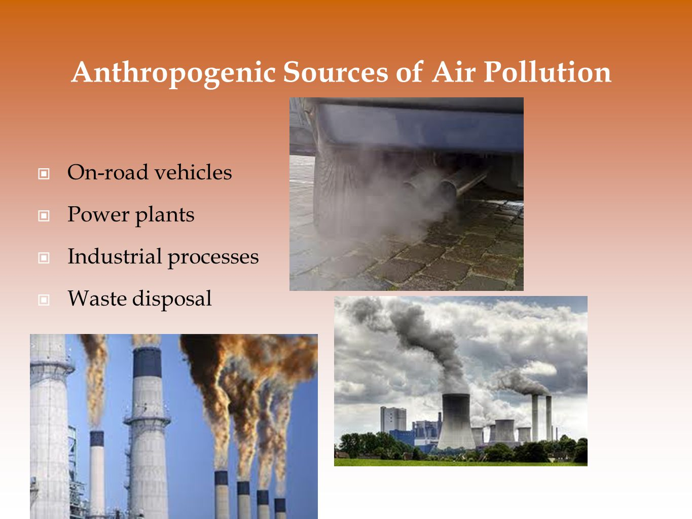 Anthropogenic Sources of Air Pollution On-road vehicles Power plants Industrial processes Waste disposal