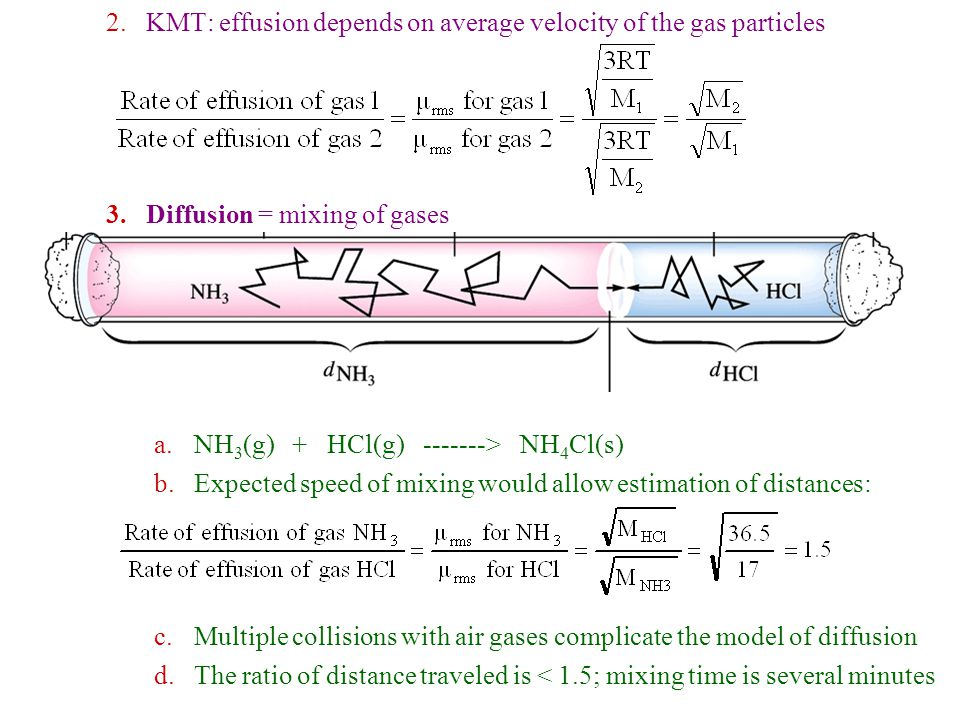 H.Real Gases 1.No gas is ideal, although most are close at low P and high T 2.Where does the KMT fail in describing Real Gases.