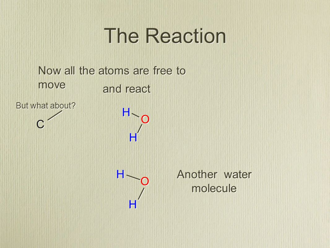The Reaction C C H H H H O O Now all the atoms are free to move and react O O H H H H Another water molecule But what about