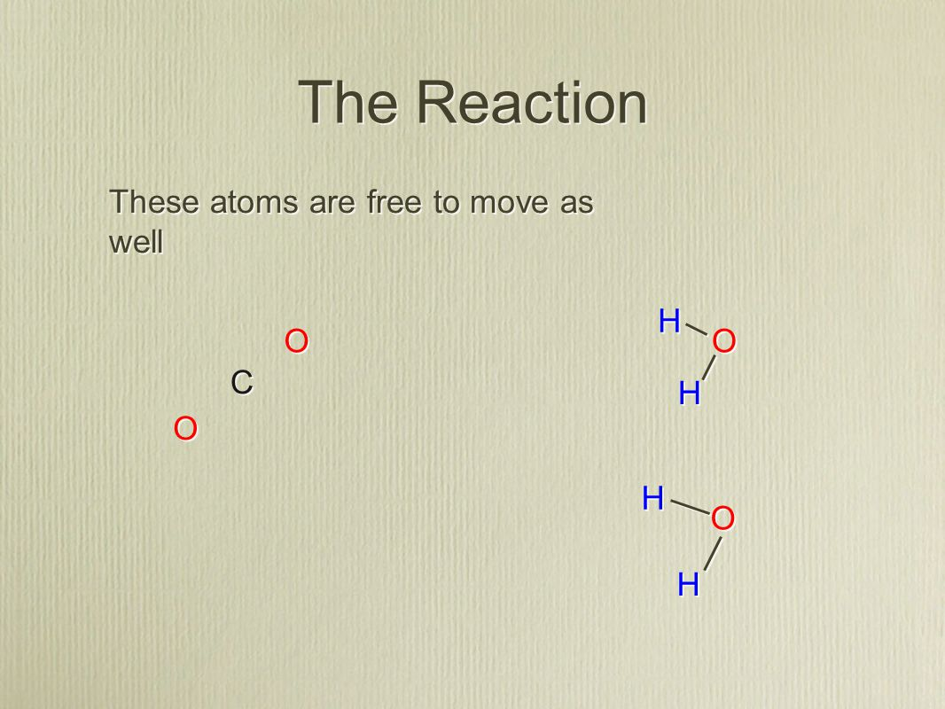 C C H H H H O O O O H H H H O O O O The Reaction These atoms are free to move as well