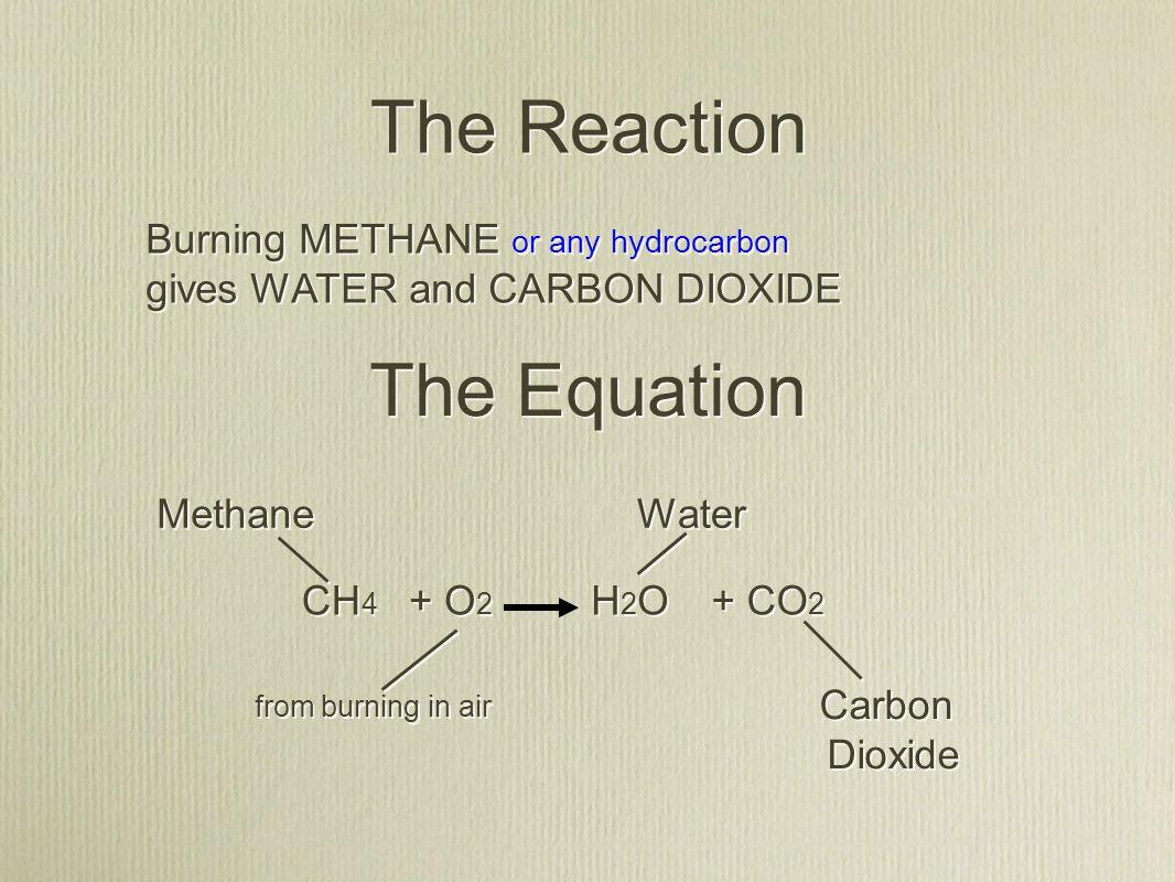 CH 4 O2O2 O2O2 + + CO 2 H2OH2O H2OH2O + + The Equation