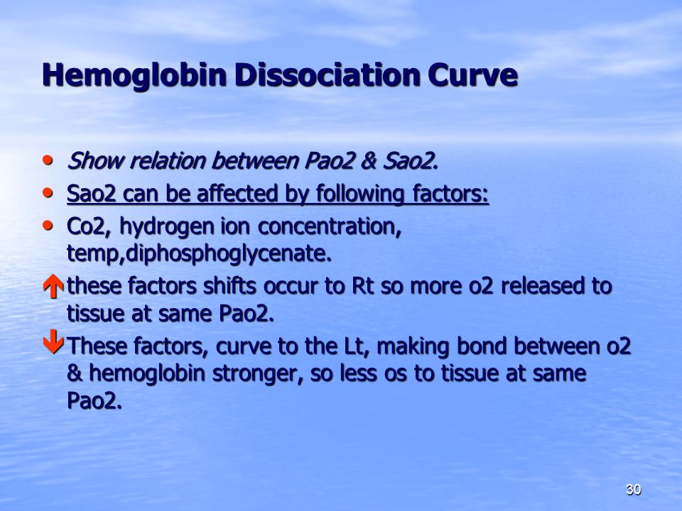 30 Hemoglobin Dissociation Curve Show relation between Pao2 & Sao2. Show relation between Pao2 & Sao2. Sao2 can be affected by following factors: Sao2
