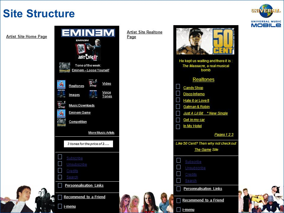 Site Structure Personnalisation Links iMenu Subscribe Unsubscribe Credits Enter the most private world of your favourite artists Marketing Message Tone of the week: Promotional Site Banner Music Zone 50 Cent – Candy Shop Editorial Search Eminem Kaiser Chiefs UK Chart More Music Artists NEW HOT NEWS!.