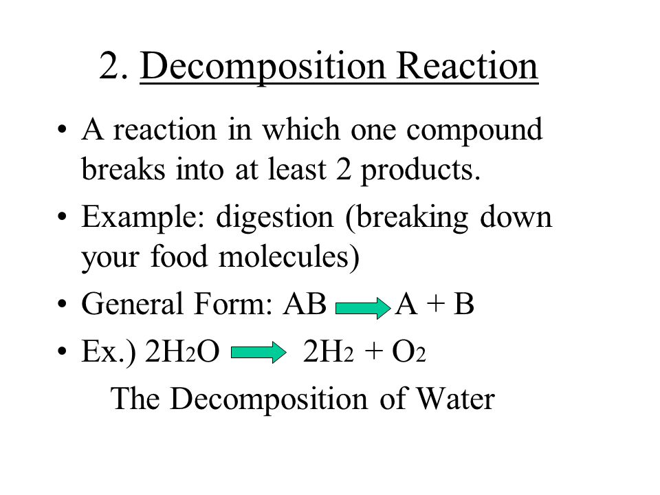 1.Synthesis Reaction A reaction of at least 2 substances that forms a new, more complex compound. (Synthesis means to make) Example: Hydrogen + oxygen