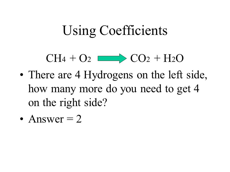 Now what? You can NOT change the subscripts! 2. Place Coefficients to balance the equation. Coefficient = a # in front of atoms or compounds.