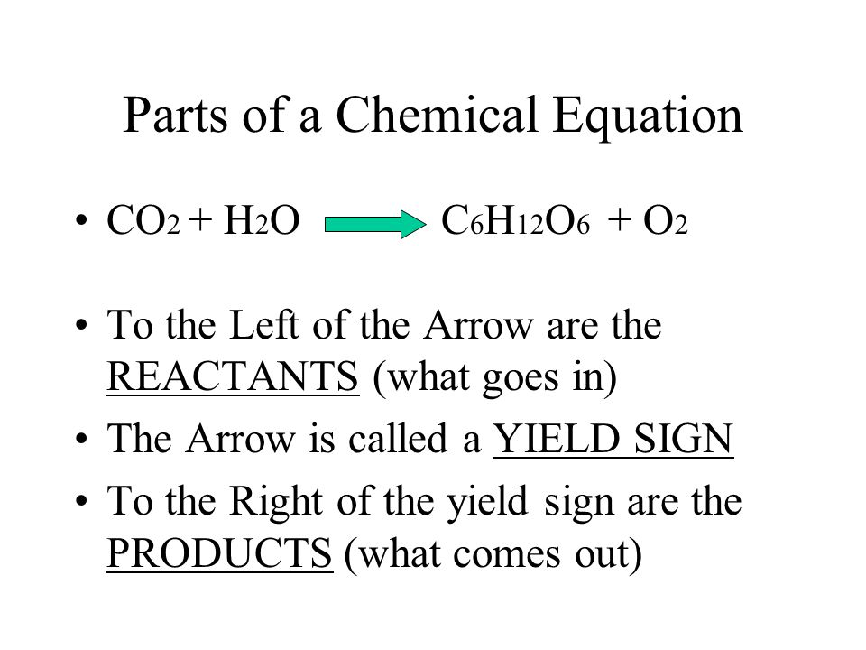 Chemical Reactions Rearrange Atoms Example) Photosynthesis! The Chemical Equation: CO 2 + H 2 O C 6 H 12 O 6 + O 2