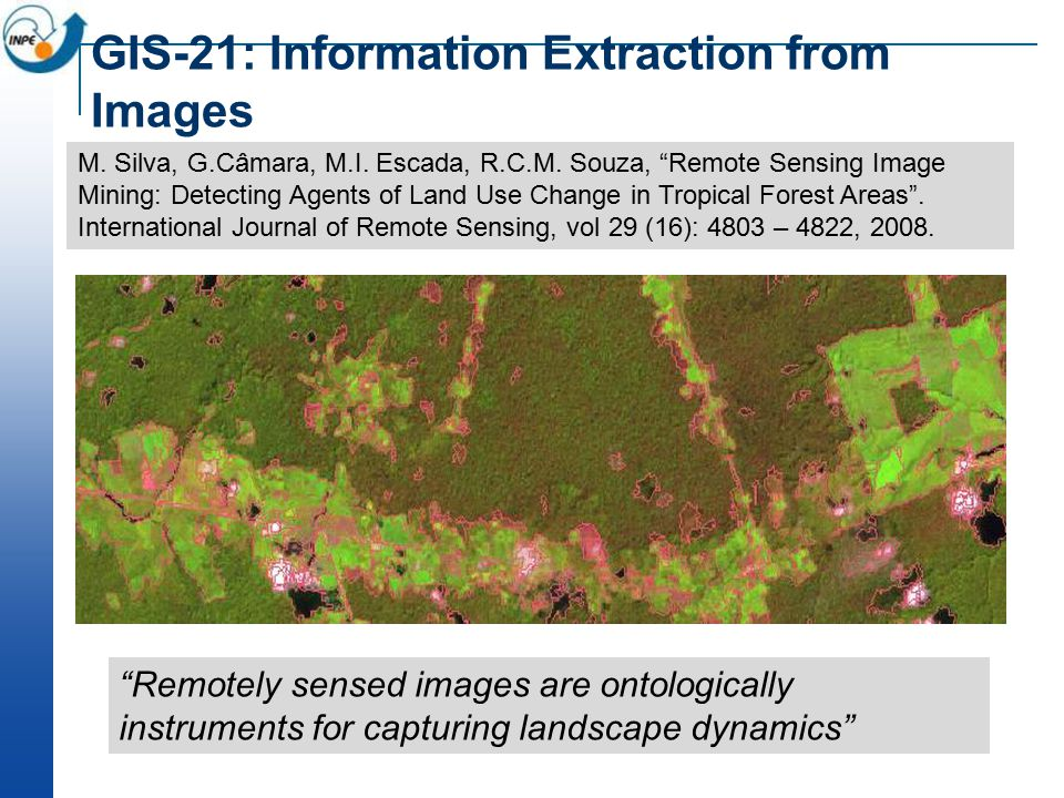 GIS-21: Information Extraction from Images Remotely sensed images are ontologically instruments for capturing landscape dynamics M.