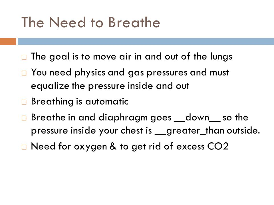 The Need to Breathe  The goal is to move air in and out of the lungs  You need physics and gas pressures and must equalize the pressure inside and out  Breathing is automatic  Breathe in and diaphragm goes __down__ so the pressure inside your chest is __greater_than outside.