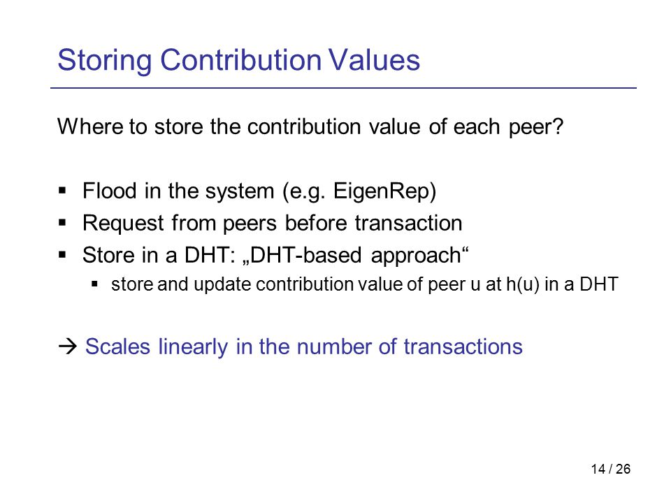 14 / 26 Storing Contribution Values Where to store the contribution value of each peer.