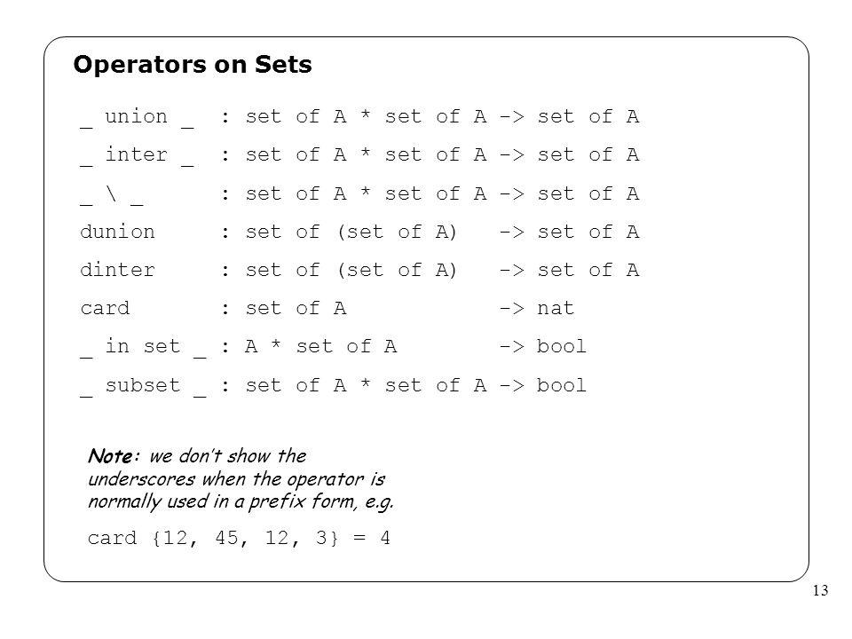 13 Operators on Sets _ union _ : set of A * set of A -> set of A _ inter _ : set of A * set of A -> set of A _ \ _ : set of A * set of A -> set of A d