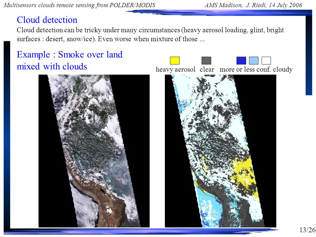 13/26 Multisensors clouds remote sensing from POLDER/MODIS AMS Madison, J.