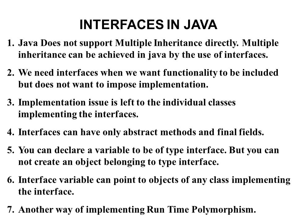 Similarities between Interfaces and classes is compiled into byte code file can be either public,protected, private or package accessibility can not be public unless defined in the file having same name as interface name serve as a type for declaring variables and parameters