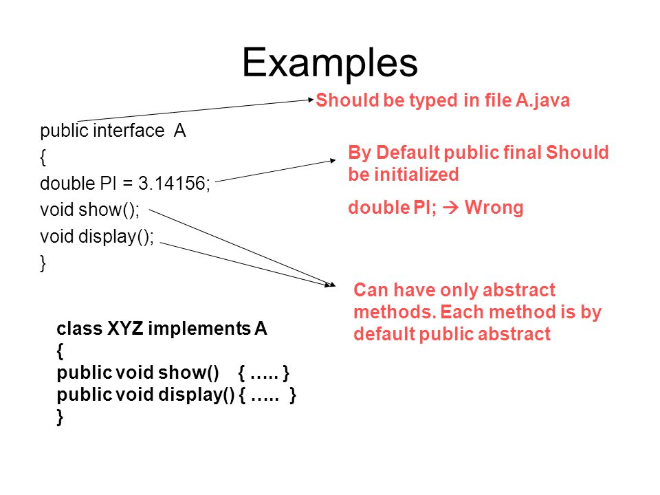 Examples public interface A { double PI = 3.14156; void show(); void display(); } By Default public final Should be initialized double PI;  Wrong Should be typed in file A.java Can have only abstract methods.