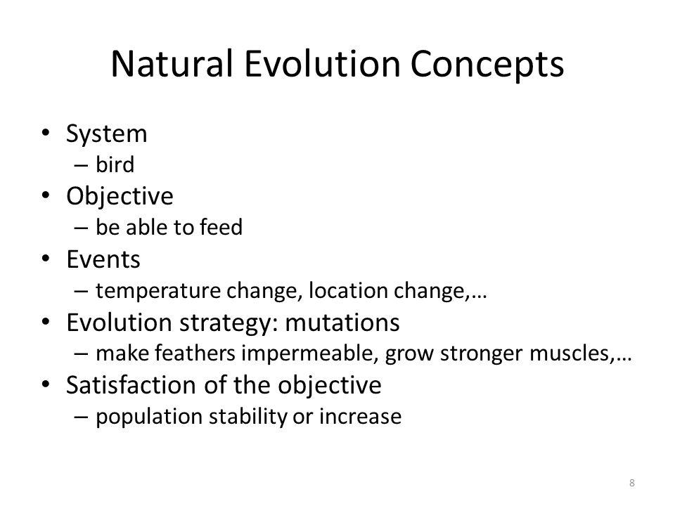 Natural Evolution Concepts System – bird Objective – be able to feed Events – temperature change, location change,… Evolution strategy: mutations – ma