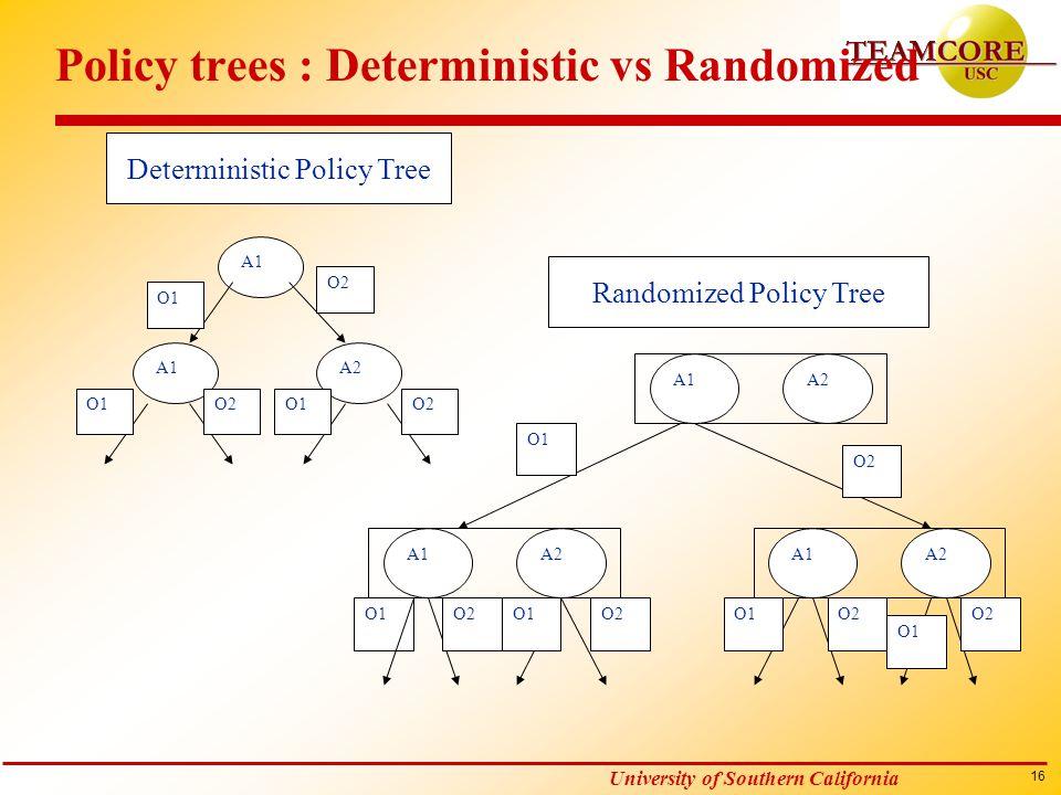 16 University of Southern California Policy trees : Deterministic vs Randomized A1 A2 O1 O2 O1 O2 O1 A1A2 A1A2 A1A2 O1 O2 O1 O2 Deterministic Policy T