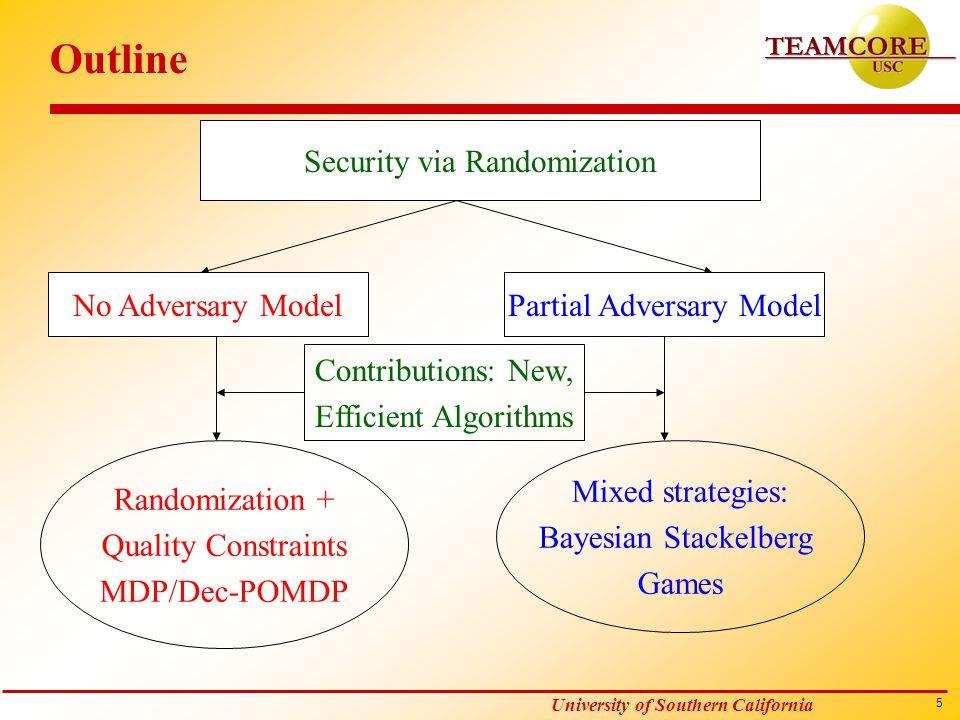 5 University of Southern California Outline Security via Randomization No Adversary ModelPartial Adversary Model Randomization + Quality Constraints M