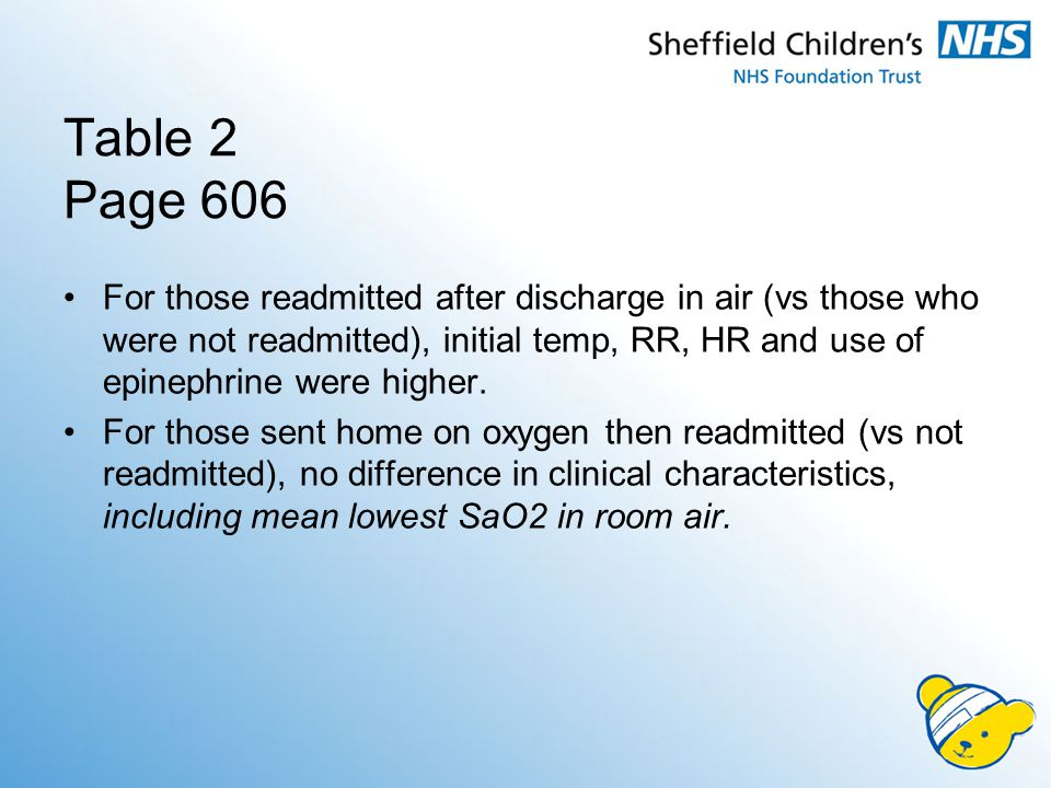 Table 2 Page 606 For those readmitted after discharge in air (vs those who were not readmitted), initial temp, RR, HR and use of epinephrine were higher.