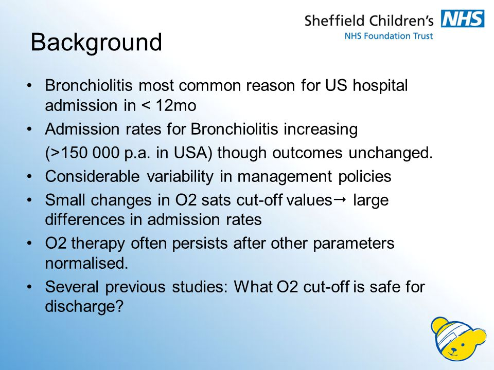 TABLE 3 Reasons for Subsequent Admission for Patients Discharged From Hospital on Oxygen Reason a n = 39 Increased O219 (59%) Increased work of breathing17 (44%) Parental concern/compliance10 (62%) Intravenous fluids for poor oral intake4 (18%) Problem with home O22 (10%) a Patients may have more than 1 reason for subsequent admission.