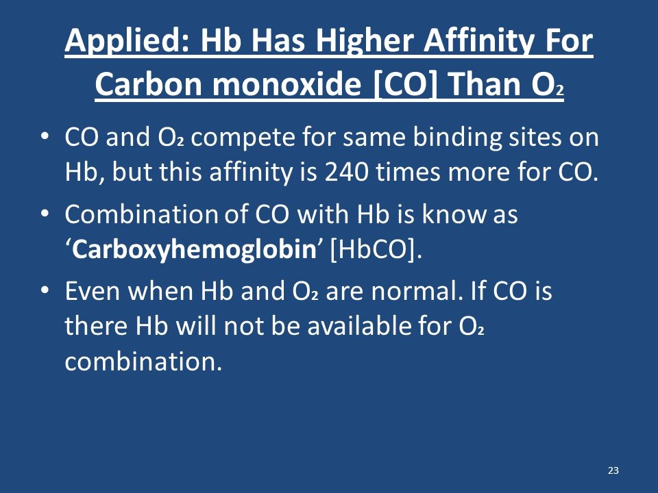 Applied: Hb Has Higher Affinity For Carbon monoxide [CO] Than O 2 CO and O 2 compete for same binding sites on Hb, but this affinity is 240 times more