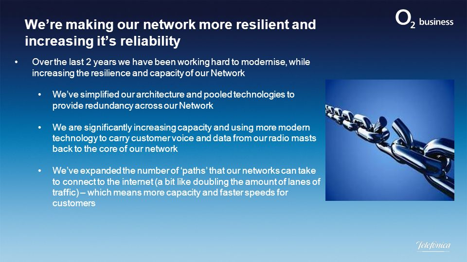 We're making our network more resilient and increasing it's reliability Over the last 2 years we have been working hard to modernise, while increasing