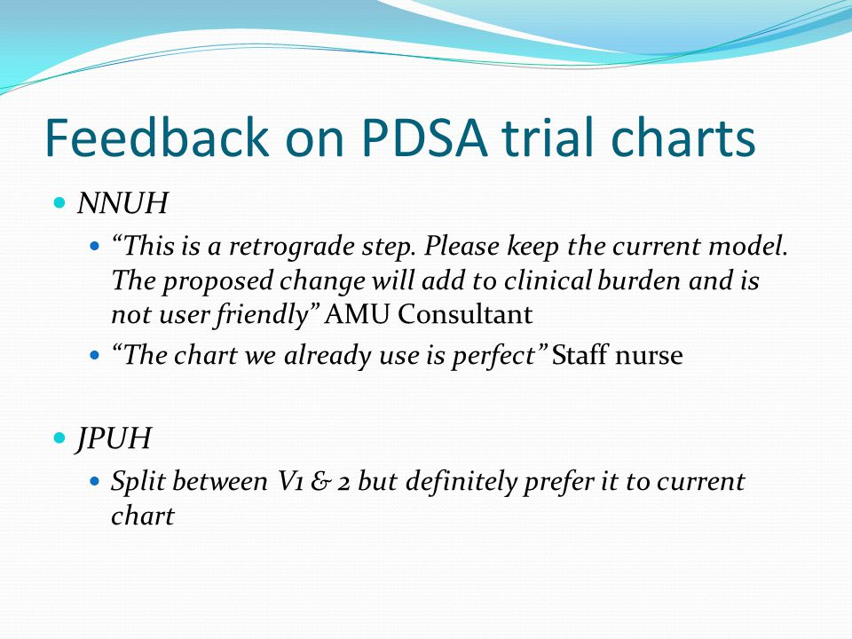Feedback on PDSA trial charts NNUH This is a retrograde step.