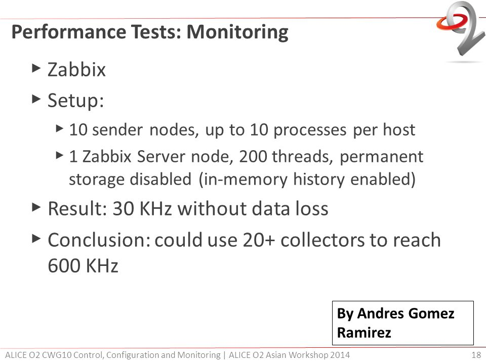 Performance Tests: Monitoring ▶ Zabbix ▶ Setup: ▶ 10 sender nodes, up to 10 processes per host ▶ 1 Zabbix Server node, 200 threads, permanent storage