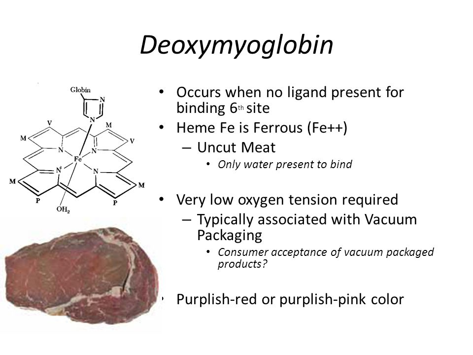 Factors Affecting Meat Color Vitamin E feeding of cattle – Prevents oxidation; retards conversion of myoglobin to metmyoglobin Bacteria – Produce metmyoglobin, choleglobin, and sulfmyoglobin pigments Curing – Nitrosylhemochromogen is the stable cured meat pigment