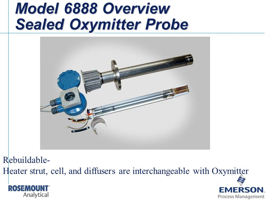 Model 6888 Overview Sealed Oxymitter Probe Rebuildable- Heater strut, cell, and diffusers are interchangeable with Oxymitter