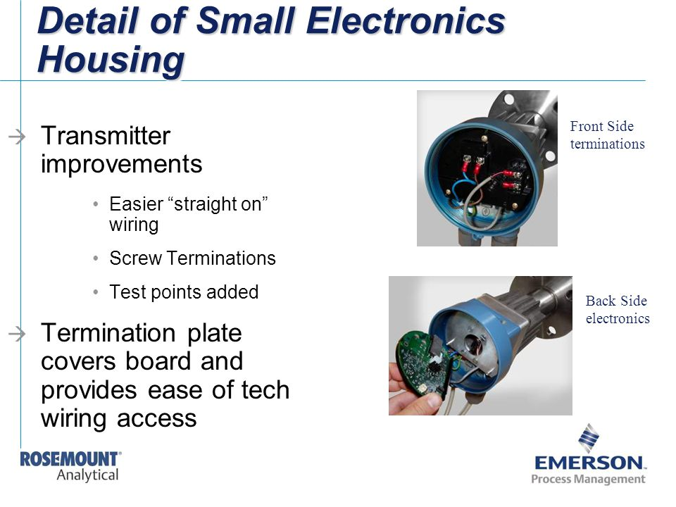 """Detail of Small Electronics Housing  Transmitter improvements Easier """"straight on"""" wiring Screw Terminations Test points added  Termination plate co"""