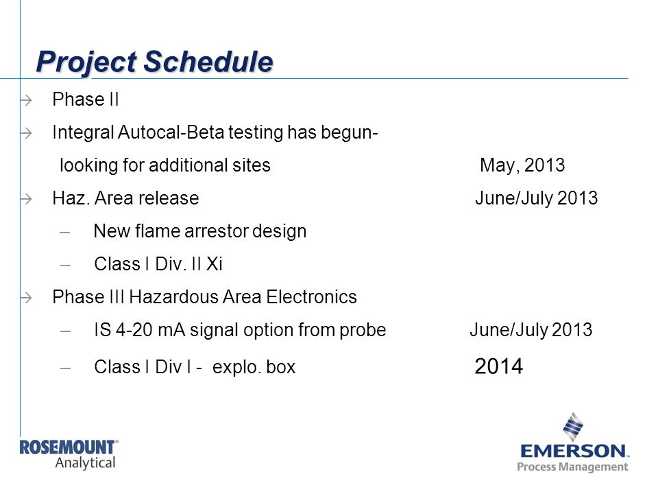 Project Schedule  Phase II  Integral Autocal-Beta testing has begun- looking for additional sitesMay, 2013  Haz. Area release June/July 2013 –New f