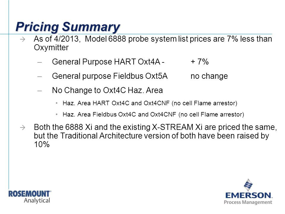 Pricing Summary  As of 4/2013, Model 6888 probe system list prices are 7% less than Oxymitter –General Purpose HART Oxt4A -+ 7% –General purpose Fiel