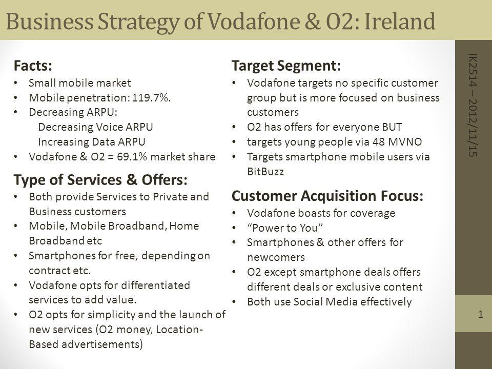 Business Strategy of Vodafone & O2: Ireland Facts: Small mobile market Mobile penetration: 119.7%. Decreasing ARPU: Decreasing Voice ARPU Increasing D