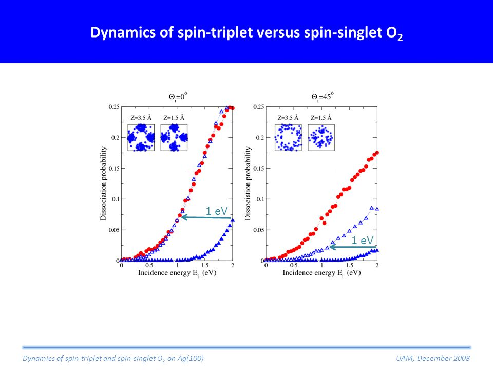 Dynamics of spin-triplet versus spin-singlet O 2 Dynamics of spin-triplet and spin-singlet O 2 on Ag(100)UAM, December 2008 1 eV