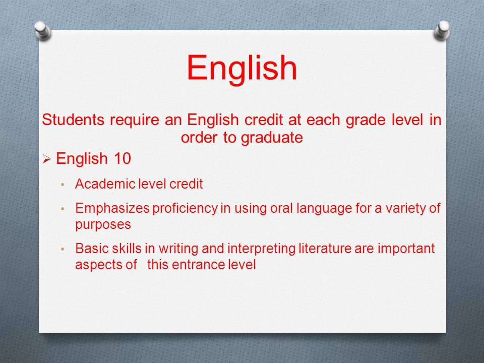 English Students require an English credit at each grade level in order to graduate  English 10 Academic level credit Emphasizes proficiency in using oral language for a variety of purposes Basic skills in writing and interpreting literature are important aspects of this entrance level